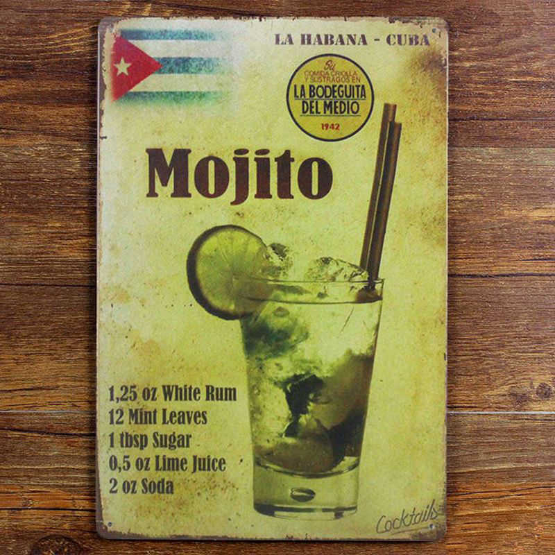 Mexico Mojito Metalen Schilderij Thee Cafe Store PUB Decor Retro Muur Plaque 20cm x 30cm