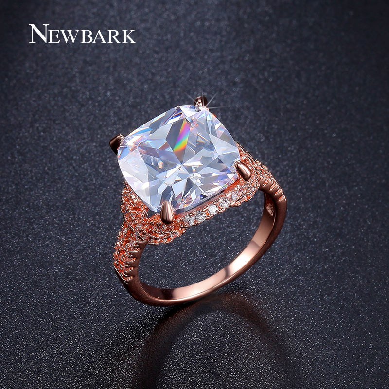 NEWBARK Big CZ Diamond Glow Dark Rings Rose Gold Plated Prong Setting Vintage Engagement Wedding Jewelry - Newbark Official Store store