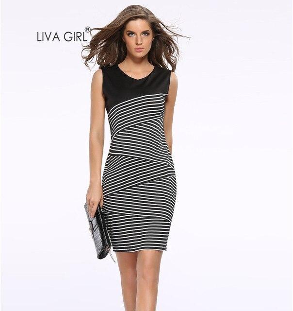 81d7a51f91 3XL Mulheres Plus Size Listrado Patchwork Trabalho Lápis Midi Vestido  Casual Feminino Vestidos Sem Mangas Zebra