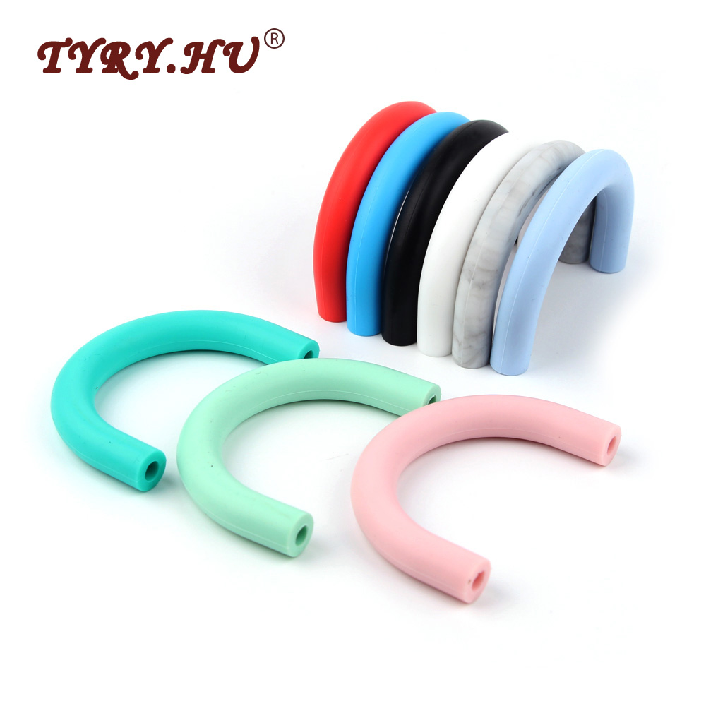 TYRY.HU U Tube Silicone Beads 1Pc Food Grade Baby Teethers BPA Free Baby Teething Necklace Chewed baads Tooth Nursing Toys