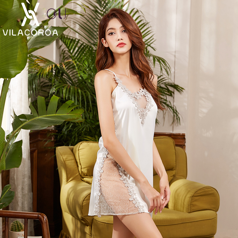 Summer Women Sexy   Nightgowns   &   Sleepshirts   Spaghetti Strap Lace Mesh Chest V Neck Backless Sexy Hips Sleepwear