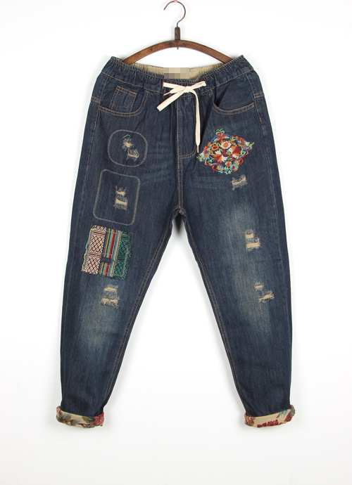 Fashion 2017 Women Jeans Denim Trousers Female National Wind Embroidery Patch Holes Curling Loose Harem Pants