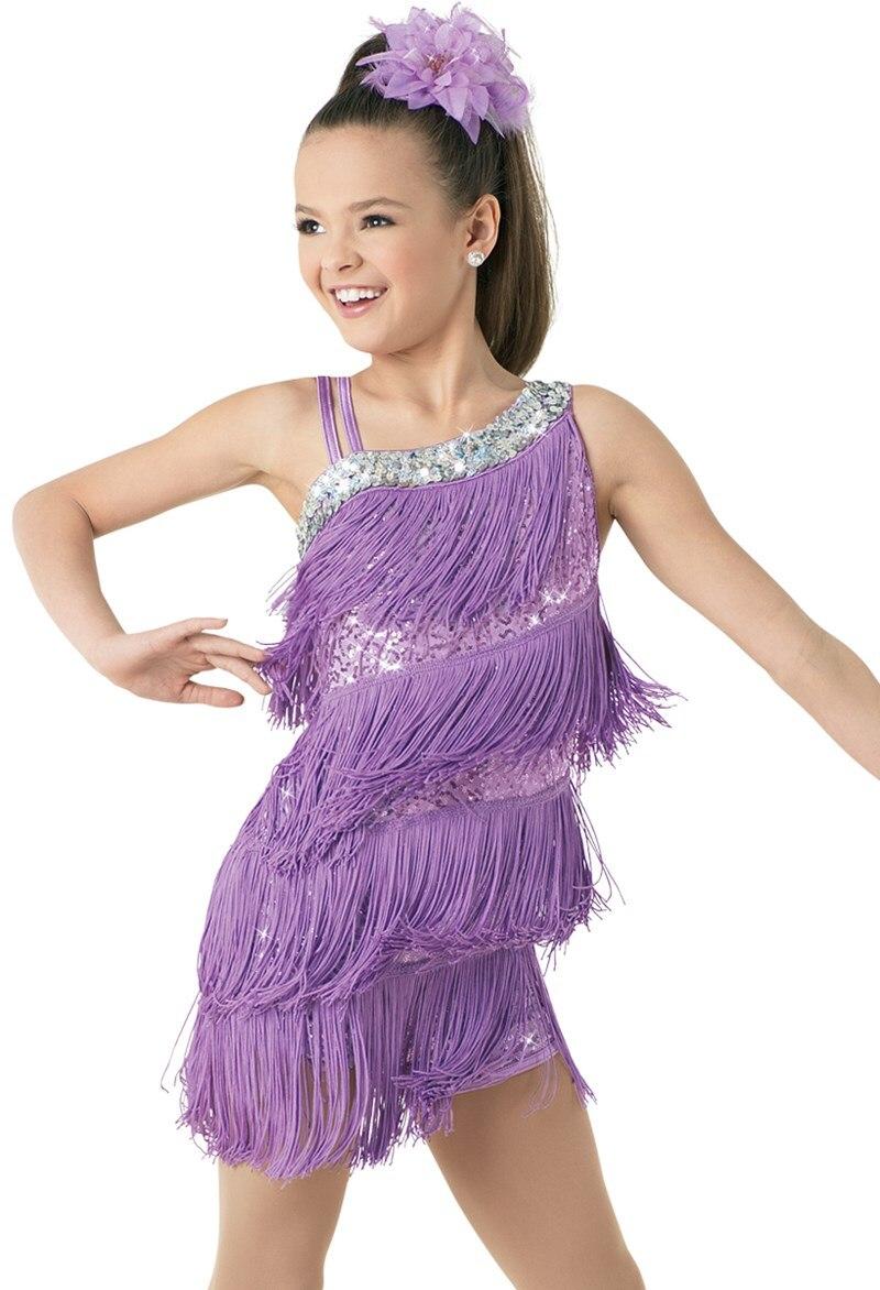 Enfant enfant enfants professionnel robe de danse latine pour filles robes de danse de salon pour enfants violet sequin frange salsa gland