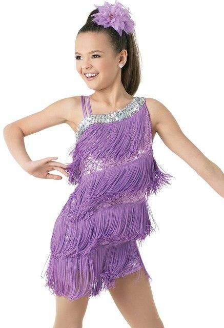 เด็กเด็ก Professional ชุดเต้นรำละตินสำหรับสาวเต้นรำชุดเด็กสีม่วงเลื่อม Fringe Salsa พู่
