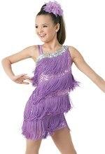 Robe professionnelle pour filles, pour filles, robe de danse latine, pour salle de bal, avec franges et pompons, violet