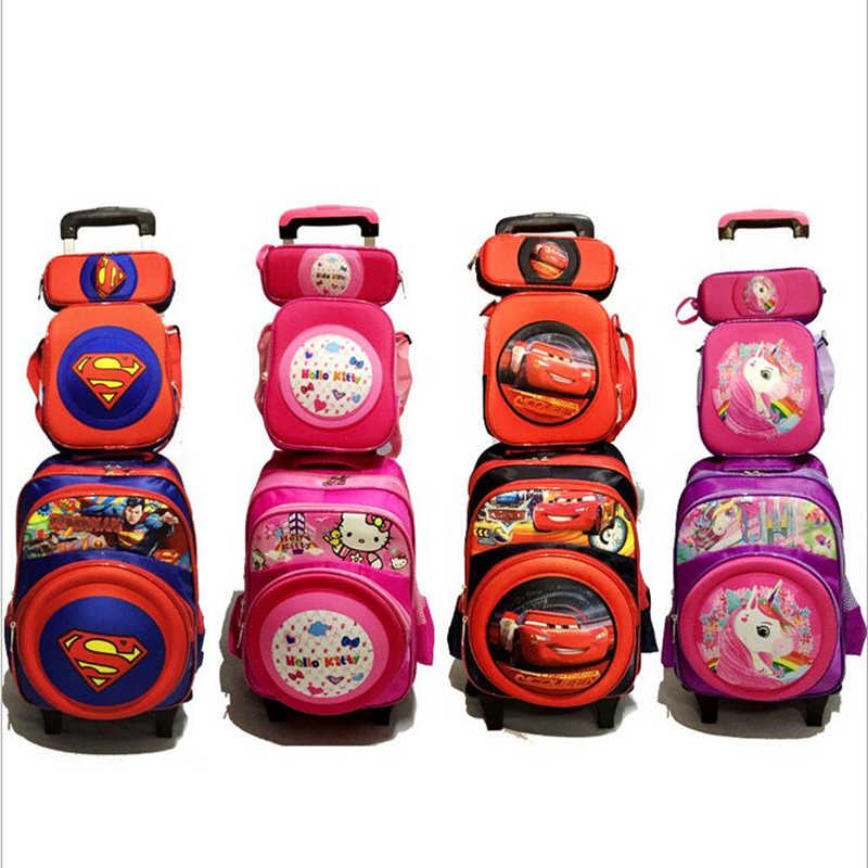92a5c15a34 New Primary School Trolley Bags Captain America Children Anime Backpack  Schoolbag Child with Wheels  School