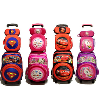 New Primary School Trolley Bags Captain America Children Anime Backpack Schoolbag Child with Wheels ;School bags with trolley