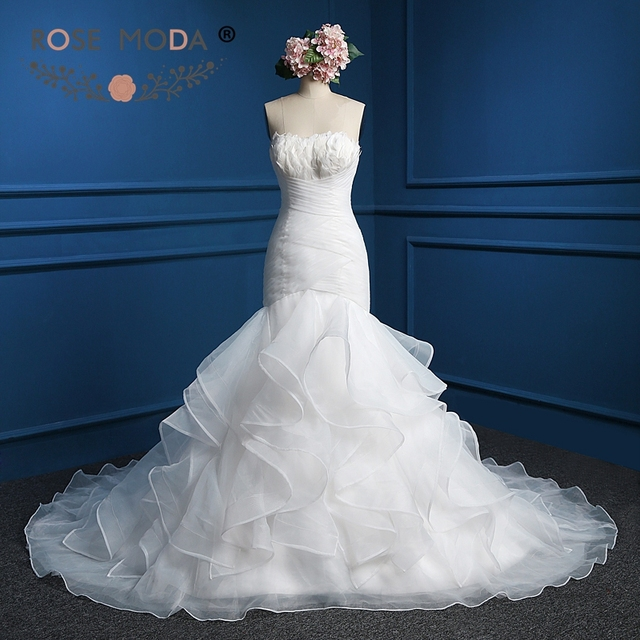Rose Moda Strapless Organza Trumpet Wedding Dress with Feathers ...
