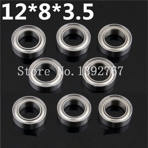 8Pcs/Lot HSP Upgraded <font><b>Steel</b></font> Parts 86683(286068A) <font><b>Ball</b></font> Bearing 12*8*3.5mm For 1/16 1/18 Himoto Wltoys RC Model Car Buggy Truck image