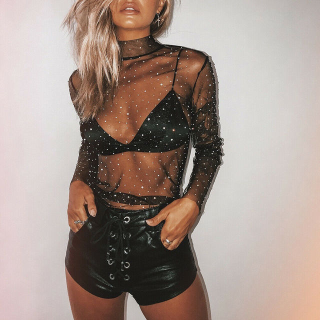 Sexy Women's See-through Crystal Rhinestone Sequins Glitter Lace Mesh Turtleneck Long Sleeve Blouse