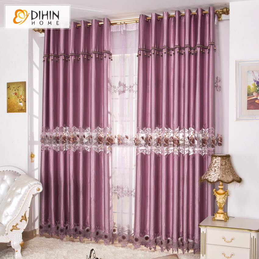 Dihin 1 pc european purple color luxury curtains for living room embroidered sheer curtains for Lavender curtains for living room