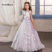 Elegant Light Purple Tulle Ball Gown Flower Girl Dress Butterfly First Communion Dress For Girls Kid Peagant Wedding Gown