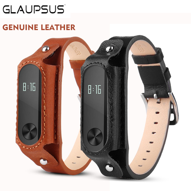 GLAUPSUS Genuine Leather Smart Watch Bracelet Strap Men Wristband for Xiaomi Mi Band 2 Retro style Smart Band Replace Wristband