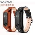Glaupsus smart watch correa de pulsera de los hombres pulsera de cuero genuino para xiaomi mi banda 2 estilo retro elegante bandas sustituir pulsera