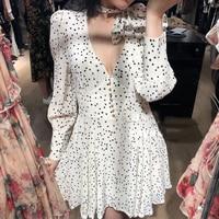 2019 ZIM Spring Designer Dress Women Vintage V Neck Long Sleeve Polka Dot Mini Dress Female White Black Vacation Dresses Vestido