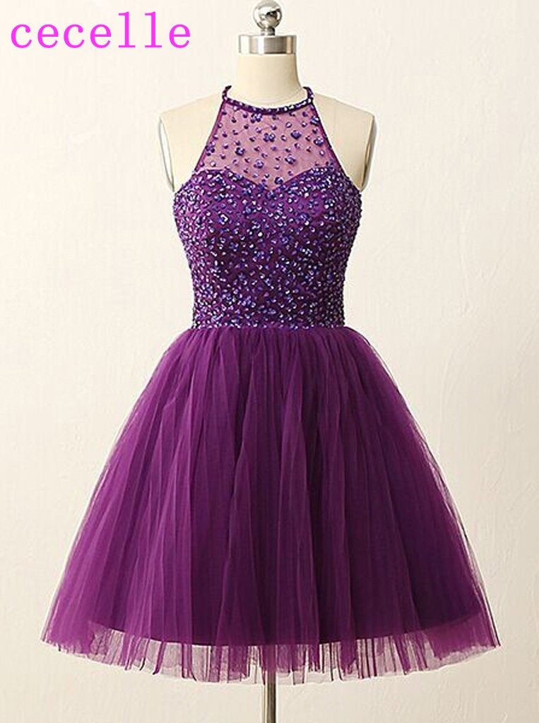 Purple Short Cocktail Dresses 2019 Halter Beaded Top Tulle Skirt Sparkly Cute Juniors Informal Short Prom Party Dress Real Photo