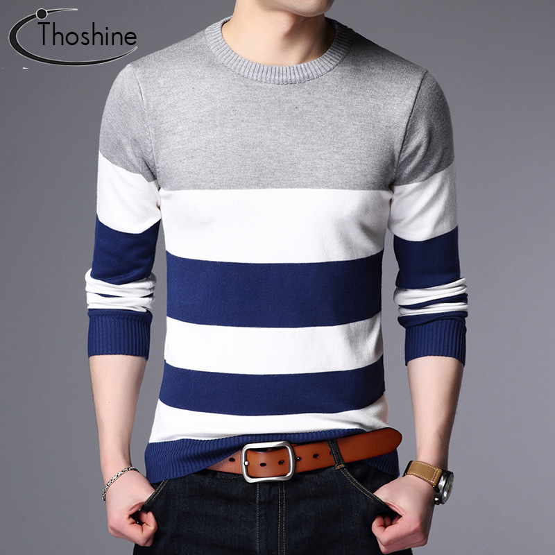 Thoshine Brand Spring Autumn Style Men Knitted Thin Sweaters Striped O-Neck Patchwork Male Casual Pullovers Wool Outwear Jumpers