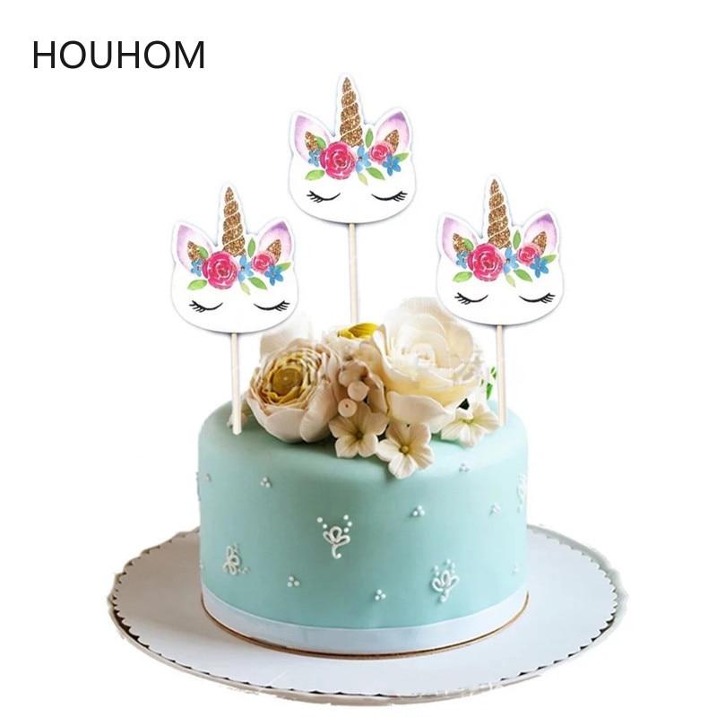 24pcs/set Unicorn Party Cake Insert Bachelorette Party Wedding Decoration Kids Birthday Party Baby Shower Supplies Diy Unicornio Event & Party Party Diy Decorations