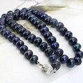 Al por mayor! 8-9mm Negro collar de perlas 18 inch mujeres moda collares joyería que hace el envío libre
