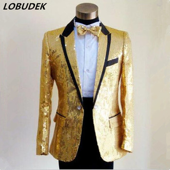 2017 men costume blazer gold red Customize high quality paillette suit wedding table costume suit top coat for singer dancer