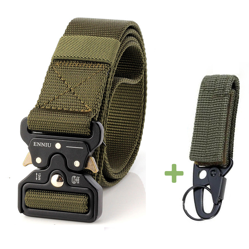 New Tactical Belt Military High Quality Nylon Men's Training Belt Metal Multifunctional Buckle Outdoor Sports Hook Waist Belt