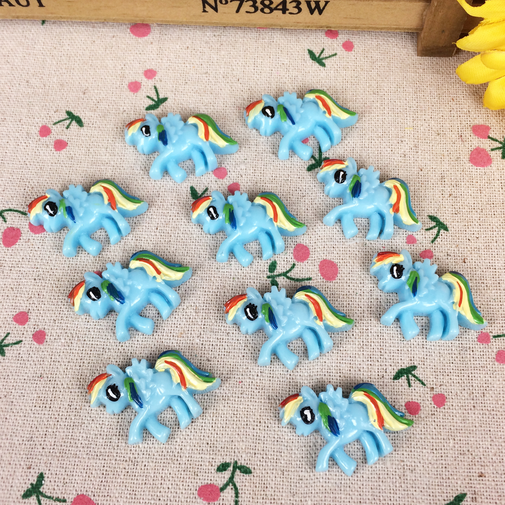 10Pieces Flat Back Resin Cabochon Cartoon Horse DIY Flatback Embellishment Accessories Scrapbooking Decoration Craft:22*30mm ...