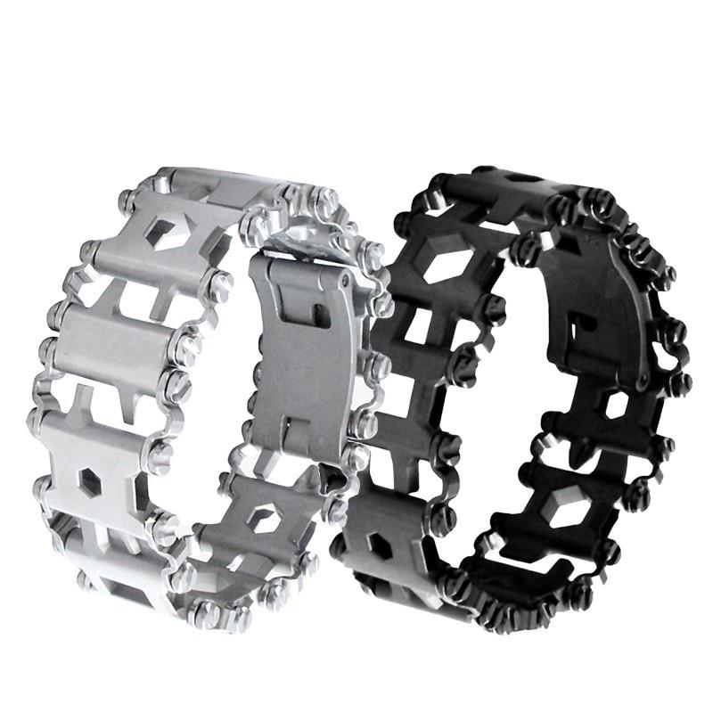 EDC Extérieure Utilitaire Bracelet Main Caténaire Multi Fonctions pour Hommes Outils pour La Chasse Survie Montre bande En Acier Inoxydable