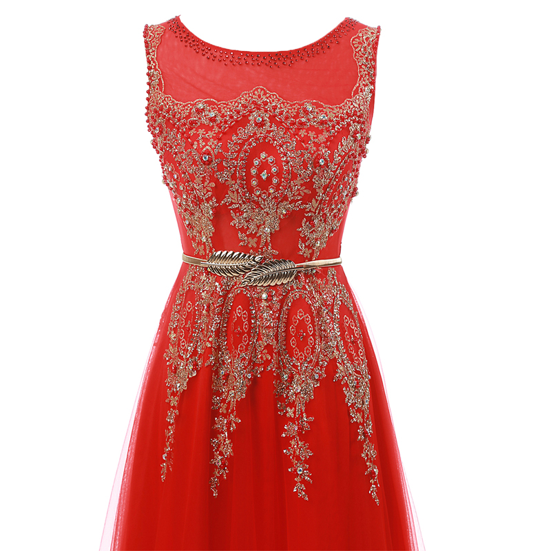 Champagne Long Elegant Appliques Beading Party Prom Dresses 2