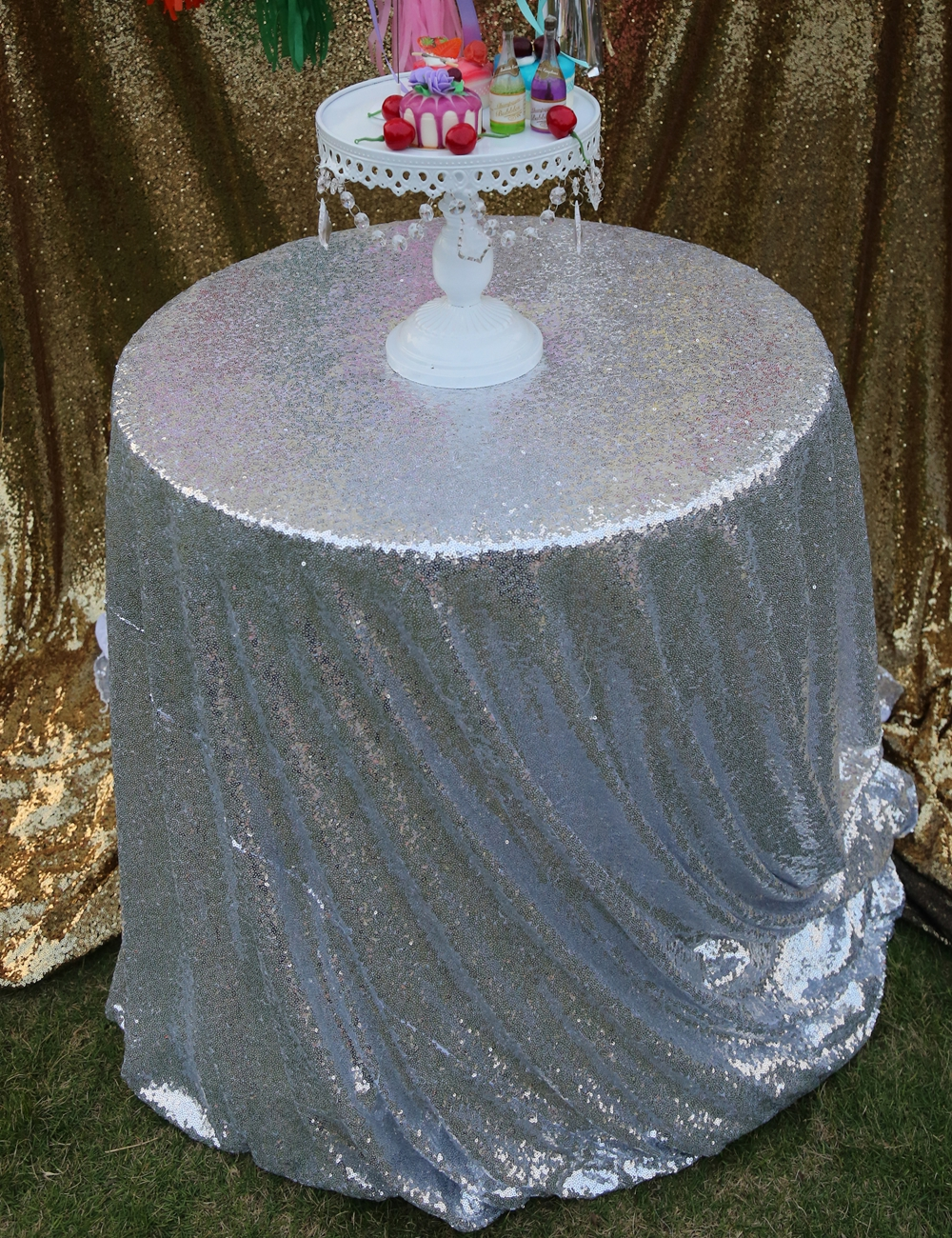 96 inch round tablecloth - Glitter Sequin Tablecloth Silver Round Diameter 96 Inches 240cm For Wedding Party Decoration