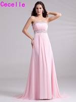 Pink A Line Long Formal Evening Dresses For Teens Beaded Pleats Chiffon Sexy Open Back Girls
