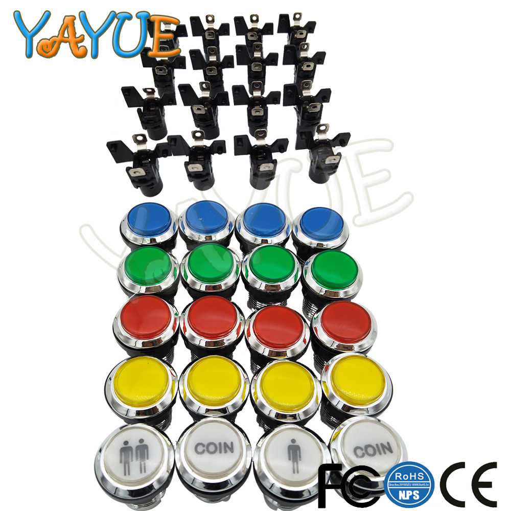1pcs CHROME Plated illuminated 12v LED Arcade Push Button with microswitch player 1 and player 2