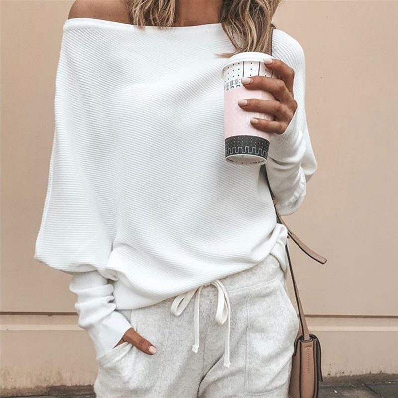 Tee Shirt Femme  Autumn Sexy Off The Shoulder Long Sleeve Tops For Women T-Shirt Casual One Shoulder Rib Tops