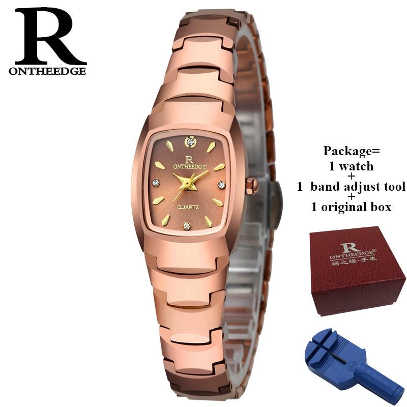 2017 Top marque de luxe RONTHEEDGE marque montre femmes affaires petit cadran étanche femmes montre pleine acier mode montre à Quartz