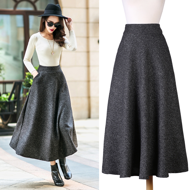 ef0b31717c82e0 British Style New Quality Winter Skirt 2018 Autumn Formal Women's Long  Woolen Skirts Big Buttom A line Wool Skirts S XXL-in Skirts from Women's  Clothing on ...
