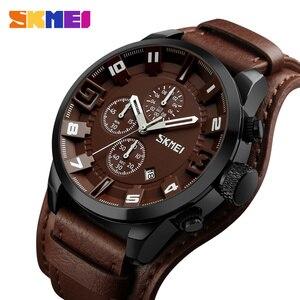 Image 1 - SKMEI New Fashion Sport Quartz Watches Men Luxury Business Leather Watch Waterproof Wristwatches Male Clock Relogio Masculino