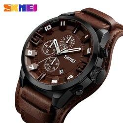SKMEI Nueva Moda Sport Relojes de Cuarzo de Hombres de Negocios de Lujo Reloj de Cuero Impermeable Relojes de Pulsera Hombre Reloj Relogio masculino