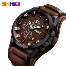 SKMEI ใหม่แฟชั่นกีฬานาฬิกาควอตซ์ผู้ชายหรูหราหนังธุรกิจนาฬิกากันน้ำนาฬิกาข้อมือชายนาฬิกา Relogio Masculino