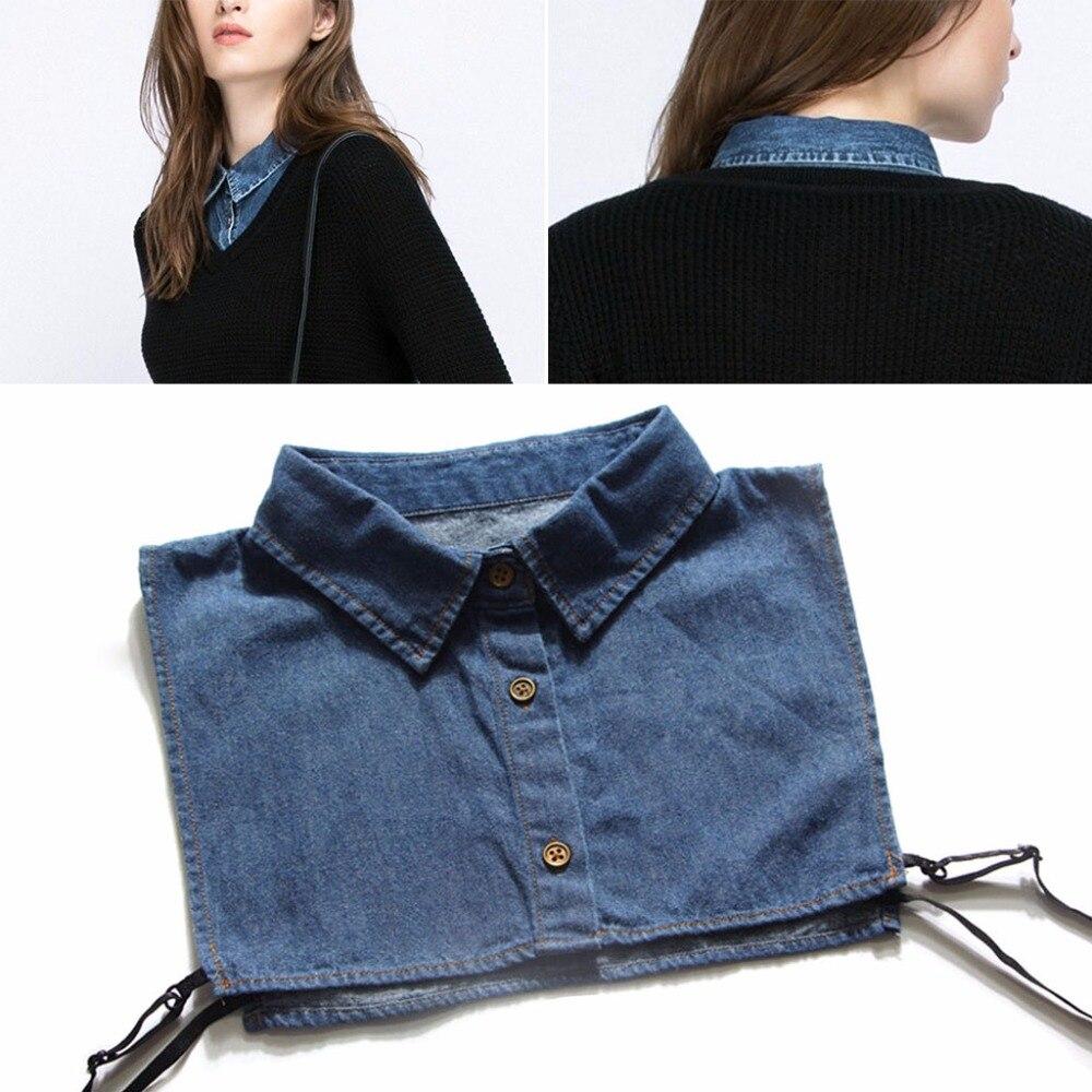 Women Denim Shirt False Collar Detachable Fake Necklace Lapel Shirt Accessories 2017 New