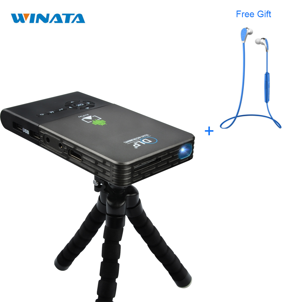 Android Mini Projector Portable Wifi LED Smart DLP Projector Wireless Wireless Connect to Smartphone+Bluetooth Earphone