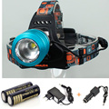 RJ2800 2000 Lumen CREE XM-L T6 LED 3-Modes Zoom Fishing Hunting Headlamp Headlight+ 2x 18650 battery+AC charger+Car Charger
