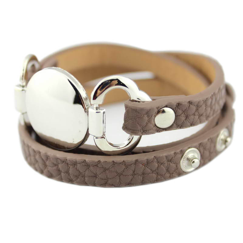 13 Colors Option Leather Wrap Monogram Bracelet  Blank Disc Charm - Fashion Jewelry - Photo 1