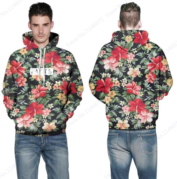 88dd5bb47c2f Vintage Red Floral Hooded Sweatshirt Autumn Retro Rose Skateboard Hoodies  Men Outerwear Sweaters Leisure Coat Jacket Hoodies