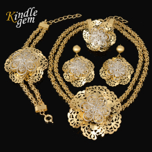 Fashion Flower Silver/Gold Color Jewelry Set African Beads Vintage Women Party Statement Big Necklace Bracelet Earrings Ring(China)
