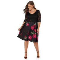 Women New Arrival Summer 2018 Black Lace Patchwork Floral Print Day 60s Evening Party Skater Dress