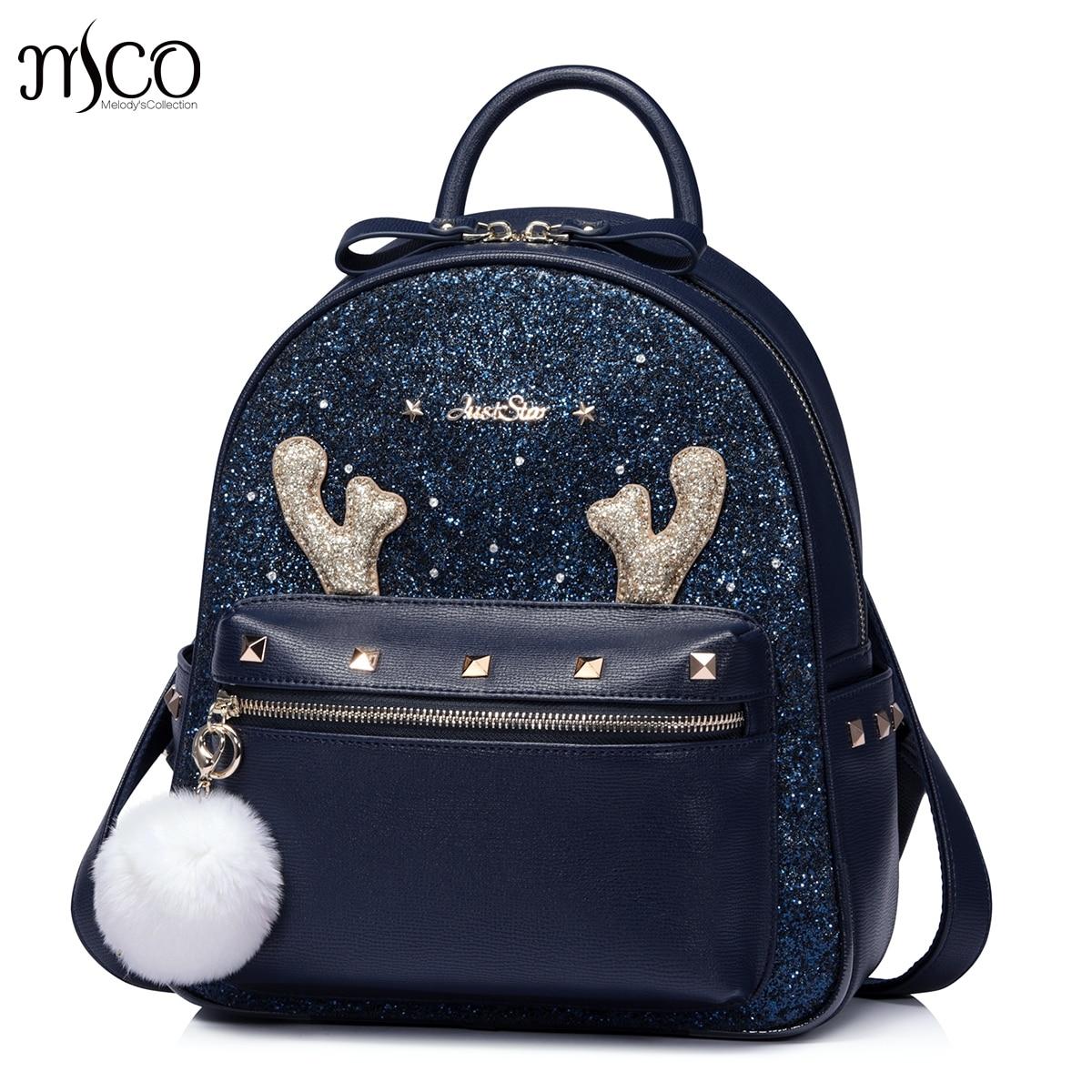 91da461e7e9b Women Backpack Big Cornu Cervi Crown Embroidered Sequins Backpack ...