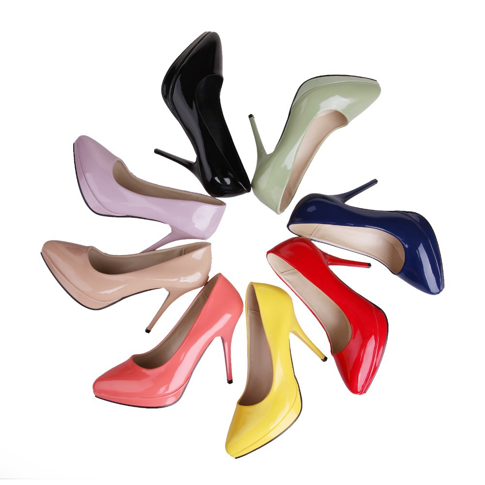 Brand New Sweet Green Lavender Black Red High Heels Women Nude Glossy Platform Pumps Ladies Sexy Shoes AD1028 Plus Big Size 43