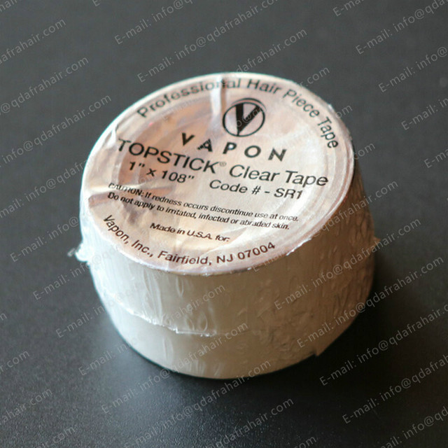 """Vapon Topstick Clear Tape 1"""" x 108"""" Tape For Wig Super Strong Stickiness Round Label Hand T029"""