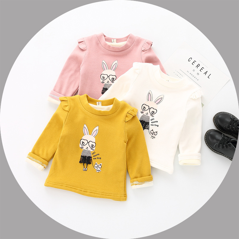 Fashion Baby Girls Winter Clothes Little Girls T shirt Rabbit Cartoon Shirts Kids Fleece Bottoming Shirt Autumn Kids Top