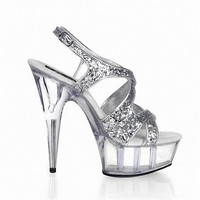 15cm super high heels Fine with flash powder crystal fashion party dresses sandals fashion catwalk models of shoes