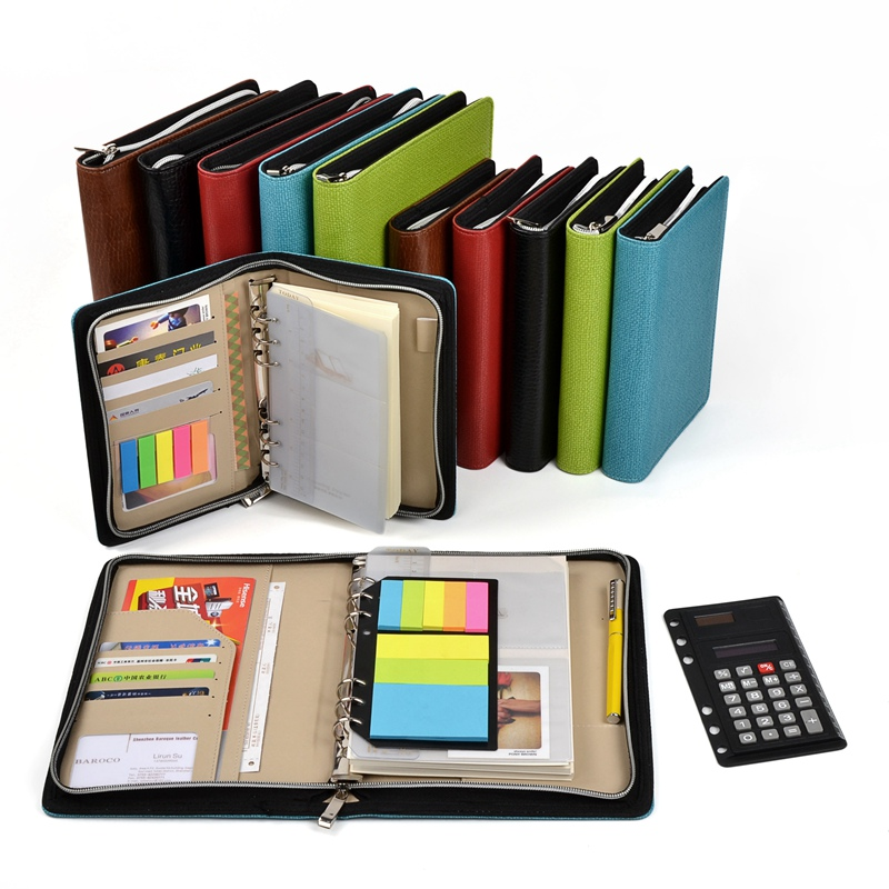 Zipper Notebook Spiral Note Book Business Office Organizer Agenda Journal Notepad folder manager with calculator ruler pocket black brown manager notebook with 6000 mah power bank document cover business supply office accessaries support customized